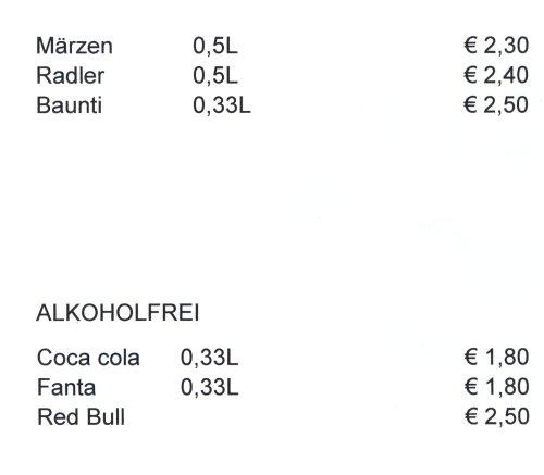 Preisliste Getränke - Stefans Würstlecke