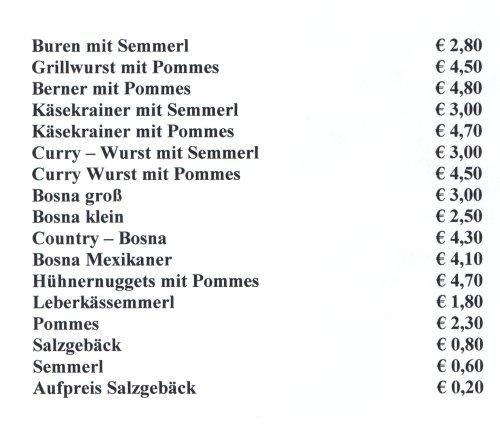Preisliste Speisen - Stefans Würstlecke